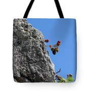 Blackberry On The Rock Top. Square Format Tote Bag