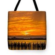 Blazing Humboldt Bay Sunset Tote Bag