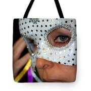 Blond Woman With Mask Tote Bag