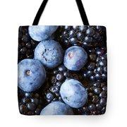 Blue And Black Berries Tote Bag