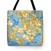 Blue And Gold Floral Abstract Tote Bag