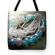 Blue And Silver Bead Bracelet Tote Bag