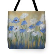 Blue And White Flora Tote Bag