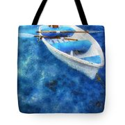 Blue And White. Lonely Boat. Impressionism Tote Bag