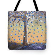 Blue-blossomed Wishing Tree Tote Bag