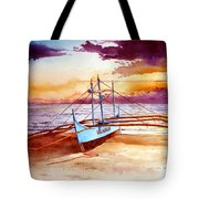 Blue Boat On The Shore Tote Bag