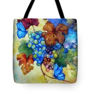 Blue Butterflies And Grapevine  Tote Bag