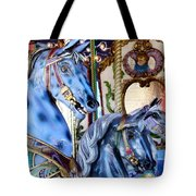 Blue Carousel Merry Go Round Horses Tote Bag