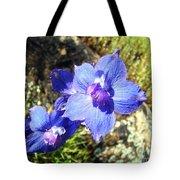 Blue Delphinium Flower Photograph Tote Bag