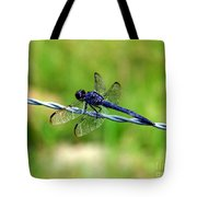 Blue Dragonfly On Barb Wire Tote Bag