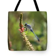Blue Dragonfly On Pink Flower Tote Bag