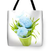 Blue Easter Eggs And Green Grass Tote Bag