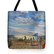 Blue Flag And Red Sun Shade Tote Bag