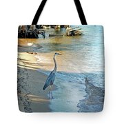 Blue Heron On The Beach Tote Bag