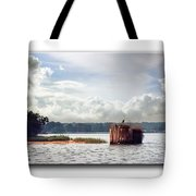 Blue Heron On The Duck Blind Tote Bag