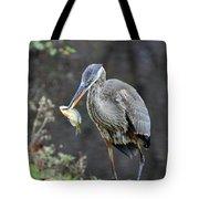 Blue Heron With Fish Tote Bag