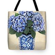 Blue Hydrangeas In A Pot On Parchment Paper Tote Bag