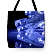 Blue Led Lights Closeup With Reflection Tote Bag