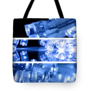 Blue Led Lights In Three Strips Tote Bag