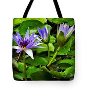Blue Lilies Tote Bag