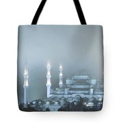 Blue Mosque In Blue Mist Tote Bag