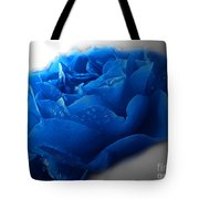 Blue Rose With Drops Tote Bag