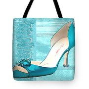 Blue Satin Ball Gown Pump Tote Bag