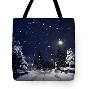 Blue Silent Night Tote Bag
