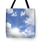 Blue Sky And Sun Ray Tote Bag