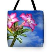 Blue Sky Pink Flower Tote Bag