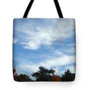 Blue Sky White Clouds Autumn Prints Tote Bag
