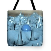 Blue Spikes Alien Terrain Tote Bag