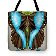 Blue Tiled Butterfly Tote Bag