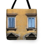 Blue Windows On A Yellow Wall In Milan Tote Bag