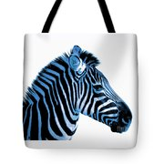 Blue Zebra Art Tote Bag by Rebecca Margraf
