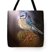 Bluejay In Spotlight Tote Bag