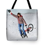 Bmx Flatland In The Snow - Monika Hinz Tote Bag