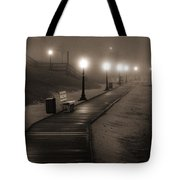 Boardwalk In The Fog Tote Bag