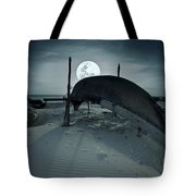 Boat And Moon Tote Bag