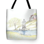 Boat In The Village Tote Bag