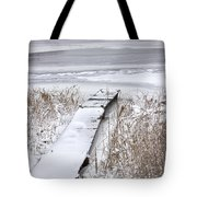 Boat Dock In Winter On A Lake No.0243 Tote Bag