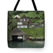 Boat House On A Mountain Slope On The Shore Of Lake Lucerne In Switzerland Tote Bag