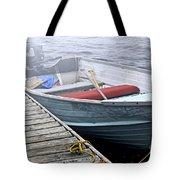 Boat In Fog Tote Bag