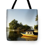 Boat On Sandy Beach Tote Bag