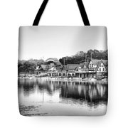 Boathouse Row In Black And White Tote Bag