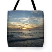 Boating At Sunset Tote Bag