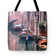 Boats Bridge And Reflections In A Venice Canal Tote Bag