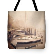 Boats In Foggy Harbor Tote Bag