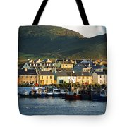 Boats In Harbor By Waterfront Village Tote Bag