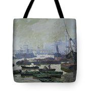 Boats In The Pool Of London Tote Bag
